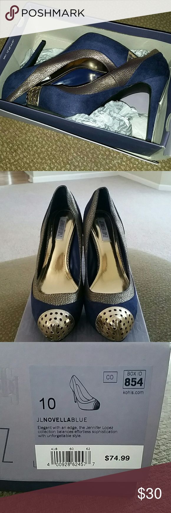 "Jennifer Lopez size 10 Platform Pumps JLO Platform Pumps ""JLNOVELLABLUE"" Worn one time, heel height 4.5"" size 10 Perfect addition to any wardrobe. Jennifer Lopez Shoes Platforms"