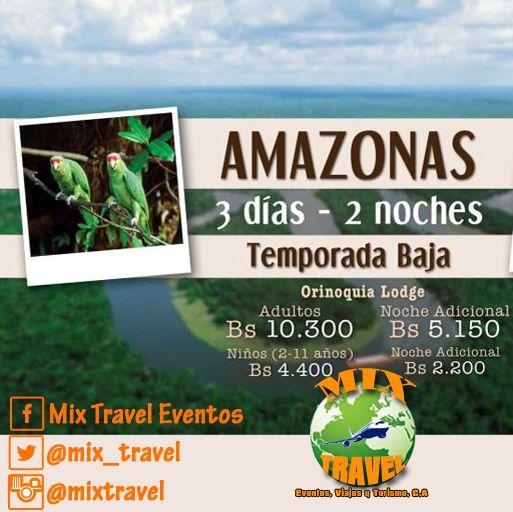 Disfruta del estado #Amazonas, #Venezuela 3D-2N. Válido hasta el 30 Abril.  Incluye: Alojamiento 02 noches en cabañas dobles de dos niveles con baño privado, ventilador y mosquiteros. Pensión completa en una gran churuata con vista al Río #Orinoco. Paseo en Curiara por el Orinoco y visita a comunidades indígenas. Excursión a la Piedra de la Tortuga, al Tobogán de la Selva y el Mercado Indígenas. Impuestos. Info: ventas@mixtravel.com.ve / whatsapp: 0426-2266443/ PIN: 7BC58A43