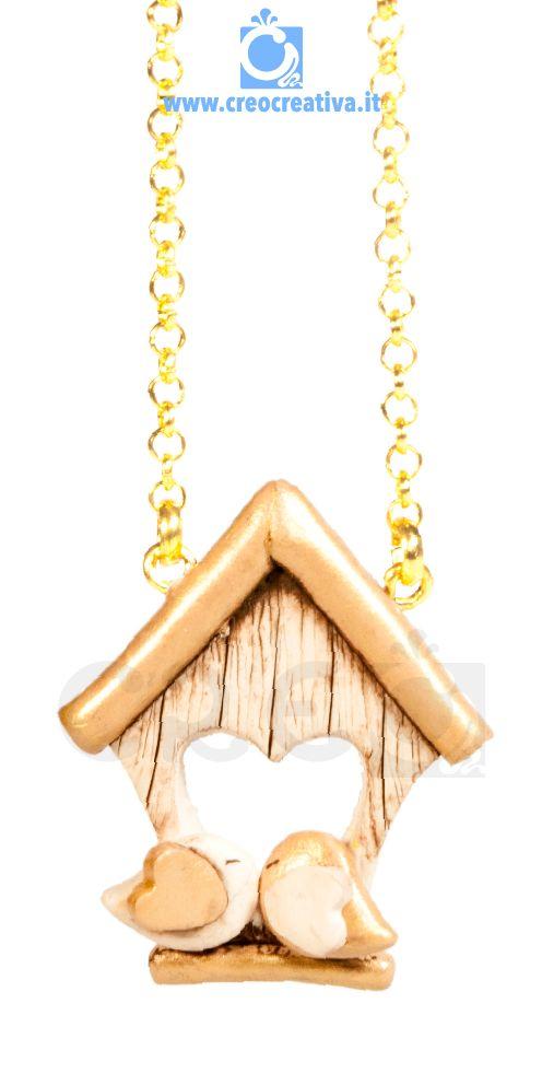 Necklace Home Love Gold | #innamorati #noi #fidanzati #sanvalentino #creo #creocreativa #fimo