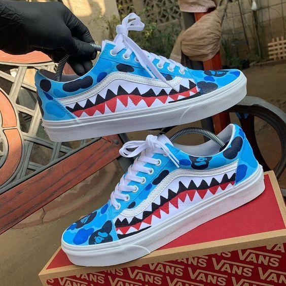 CREPPED Blue Bape Vans Old Skool Customs Crepped Sneakers #vans ...