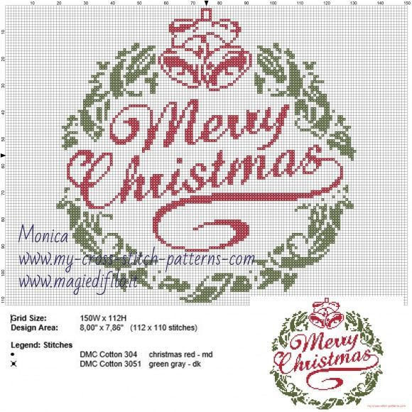 Schema punto croce Merry Christmas  (click to view)