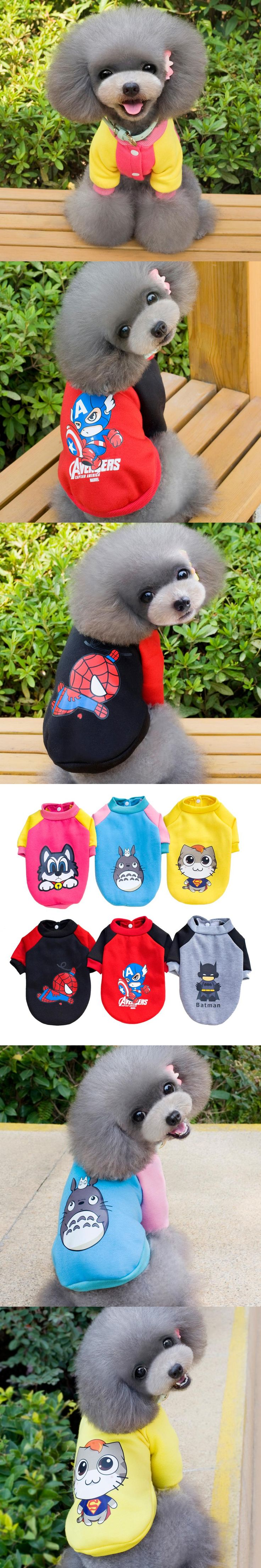 Cartoon Small Dog Clothes Sweater Coat Cute Puppy Shirts Totoro Spiderman Batman Design Superhero Chihuahua Cat Dog Costume