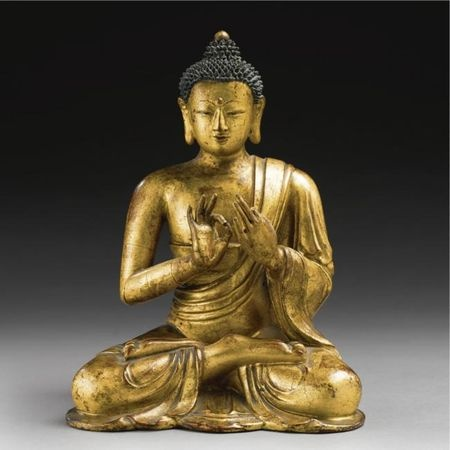 A Rare Gilt And Lacquered Wood Statue Of A Seated Buddha, Ming dynasty