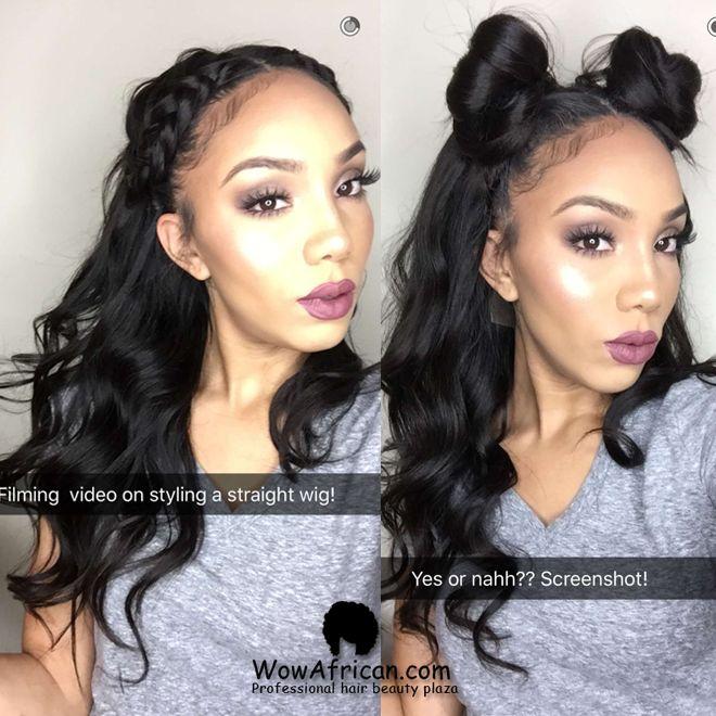 Natural Color Yaki Straight Brazilian Virgin Hair Glueless Full Lace Wigs[GFL07]-WOWAfrican.com