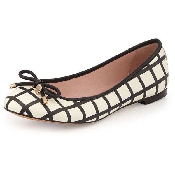 Kate Spade New York Willa Grid Print Ballerina Flat ($210) ❤ Liked On.  LederballerinasFlache ...