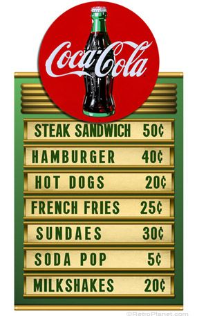 Coca-Cola ® Round Menu Sign Set More Coca-Cola @ http://groups.google.com/group/Inge-Coca-Cola & http://groups.yahoo.com/group/IngesCocaCola & http://www.facebook.com/groups/ArtandStuff & http://www.facebook.com/ComicsFantasy