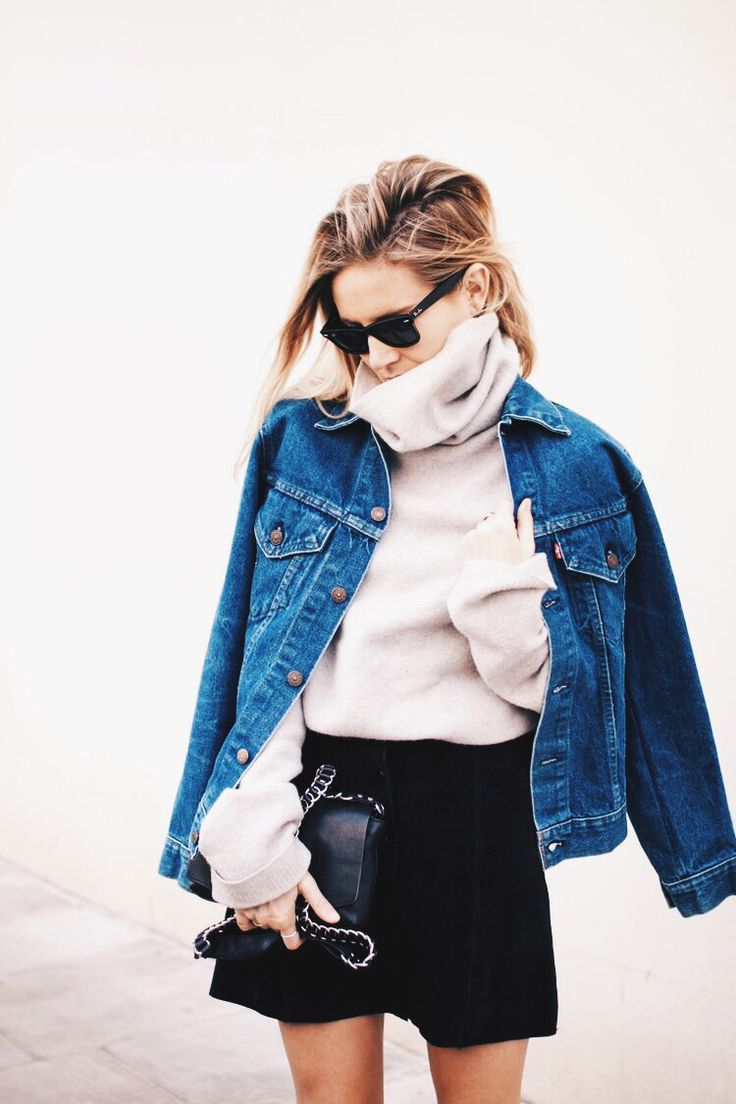 Chunky Sweater + Mini + Denim Jacket | Winter Street Style xx Shop similar pieces on Effinshop.com