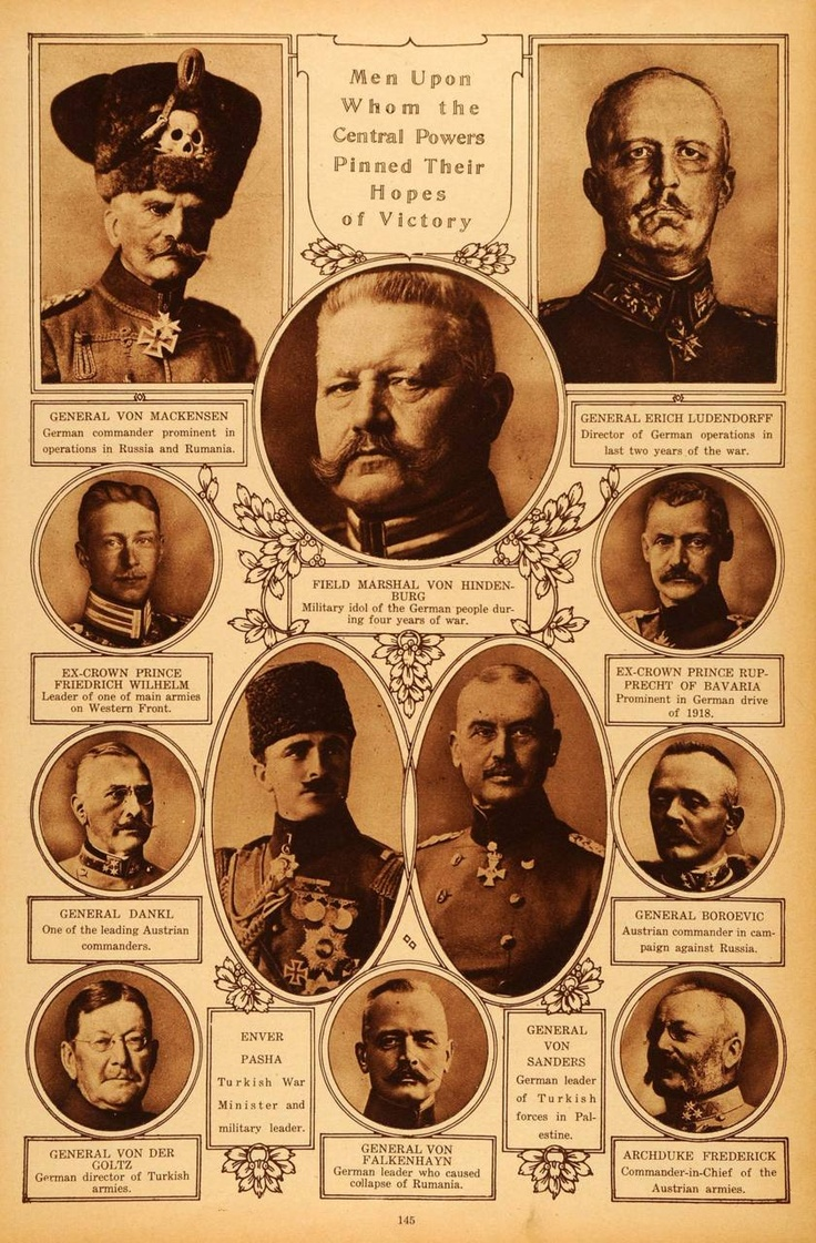 German and Turkish military leaders during WWI.  Note General von Mackensen in the upper left.  He wears the 'Totenkopf' (death's head ) on his fur hat.  The use of the Totenkopf as a military insignia began in Prussia with Frederick the Great.