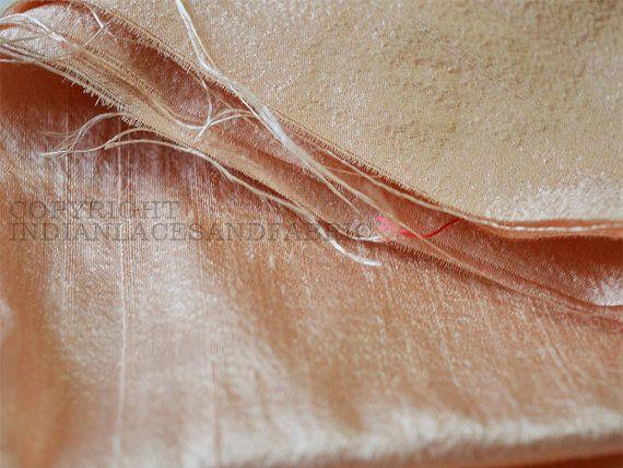 Pure Dupioni Silk fabric yardage, raw silk fabric in Pale Peach, Indian dupioni silk for wedding dresses
