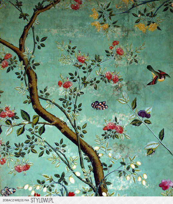 Stunning Combination of Colors Creates a Colorful and Elegant Toile/Chinoiserie Wallpaper.