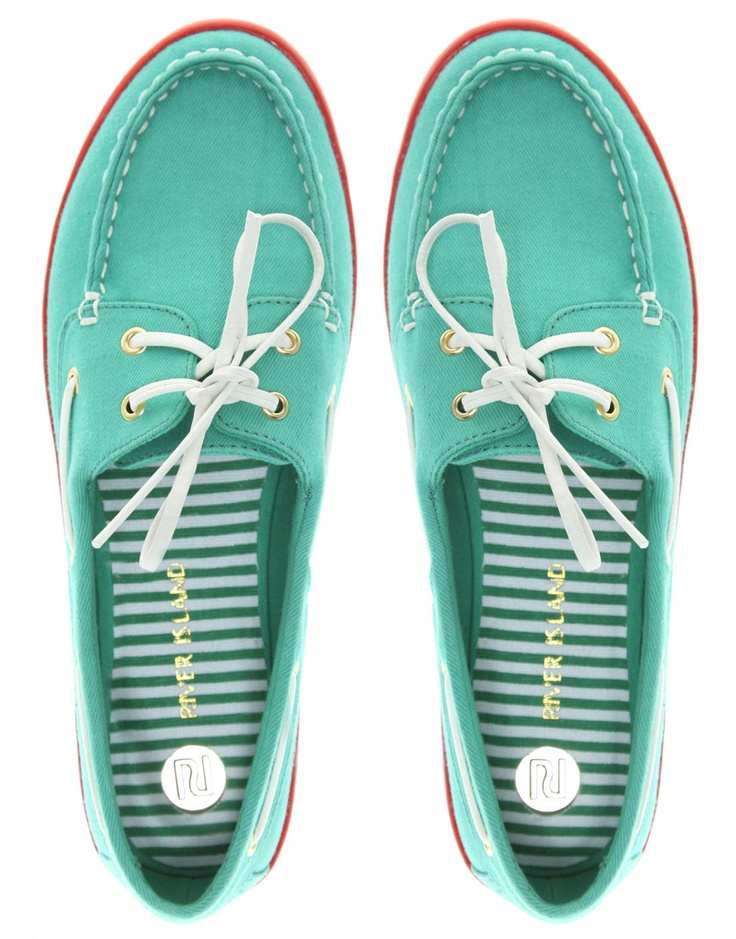 Turquoise boat shoes