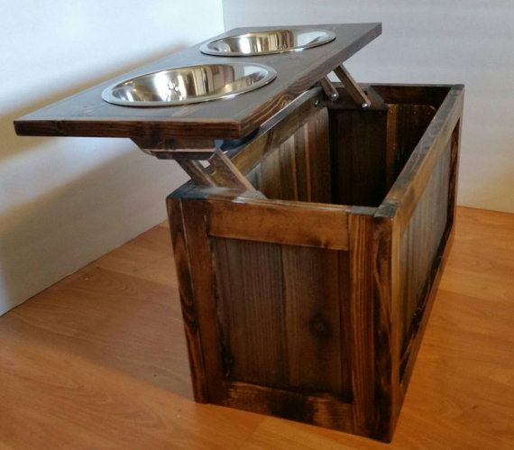 Raised Dog Feeder With Storage Elevated Feeder By MTrusticwoodwork