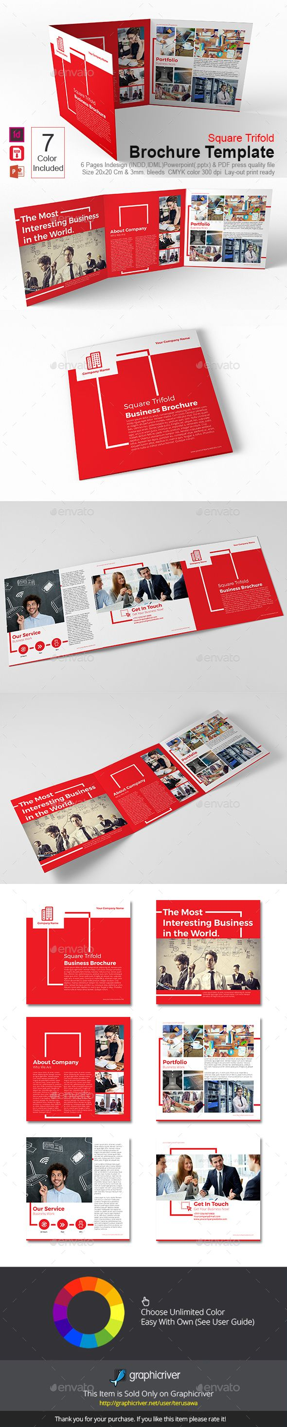 Square Trifold Brochure Template InDesign INDD. Download here…