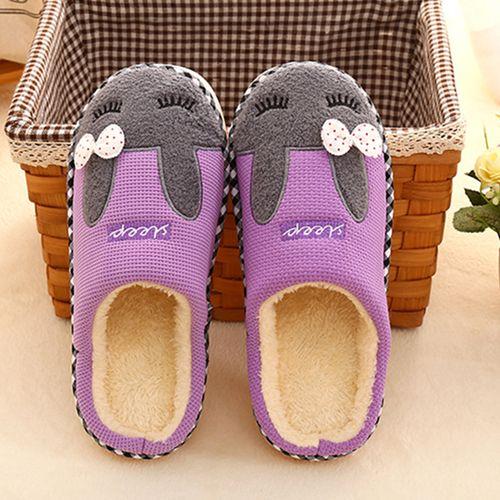 Purple Rabbit Plush Slippers For Adult