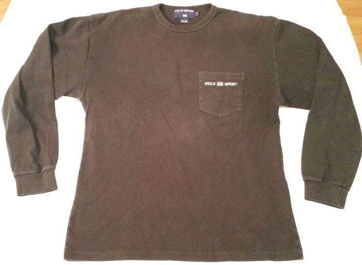 Polo Sport Ralph Lauren black long-sleeve shirt men sz L sweatshirt flag RL vtg | Clothing, Shoes & Accessories, Men's Clothing, Sweaters | eBay!