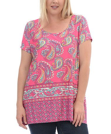 Loving this Fuchsia Paisley Scoop Neck Top - Plus on #zulily! #zulilyfinds