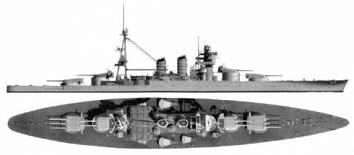 Office of Naval Intelligence drawing of the Conte di Cavour class, January 1943.