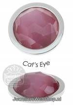 Quoins munt disk QMEG-LP Cabochon Cats Eye Licht Paars Medi