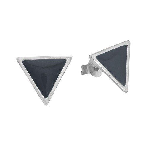 Stud, triangle, dark grey, sterling silver