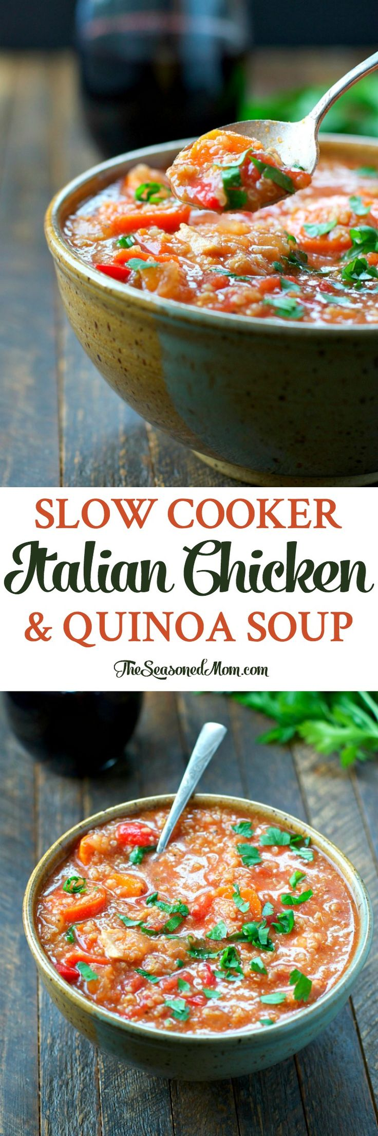 Just 5 minutes of prep for this easy Slow Cooker Italian Chicken and Quinoa Soup -- a healthy dinner that the whole family will love! Gluten Free | Healthy Recipes | Healthy Dinner | Dinner Ideas | Soup | Slow Cooker Recipes | Slow Cooker Soup