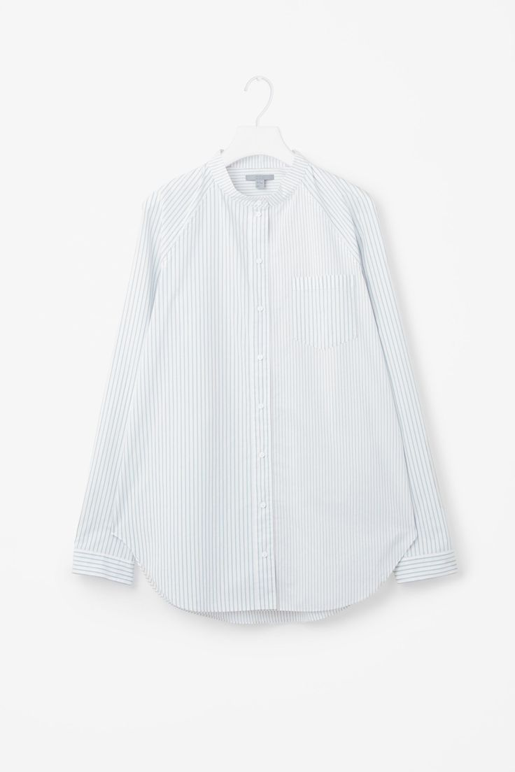 COS image 4 of Striped raglan-sleeve grandad shirt in Dusty Blue