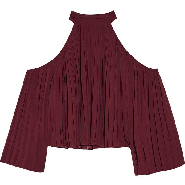W118 by Walter Baker - Mila Cutout Pleated Crepe De Chine Blouse (£61) ❤ liked on Polyvore featuring tops, blouses, shirts, crop tops, burgundy, crop shirt, cold shoulder tops, keyhole shirt, burgundy shirt and cold shoulder blouse