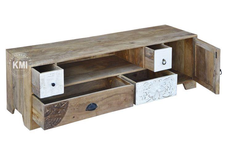 meble kolonialne białe | drewniana szafka rtv Sahara EAC1601
