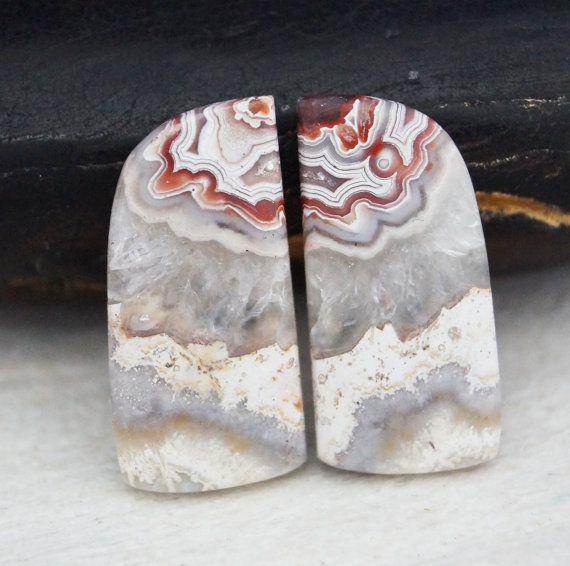 Crazy Lace Agate cabochon stone set 026 by NaturalMineralsShop
