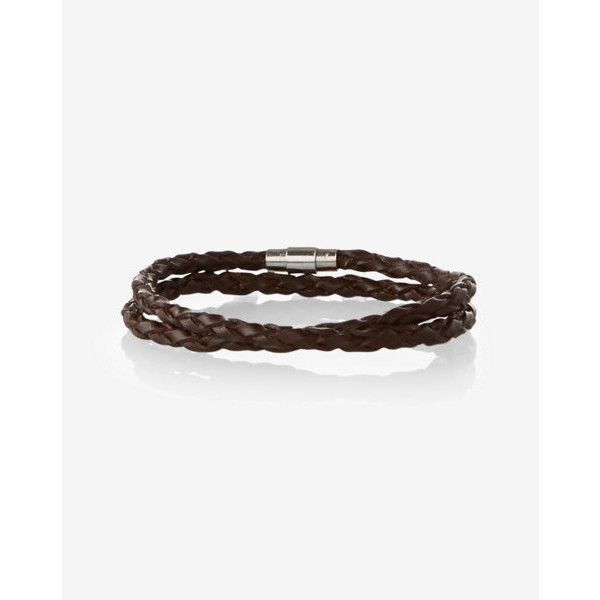 Express Braided Leather Wrap Bracelet ($15) ❤ liked on Polyvore featuring men's fashion, men's jewelry, men's bracelets, brown, mens woven leather bracelets, mens leather braided bracelets, mens bracelets, men's wrap bracelet and mens woven bracelets