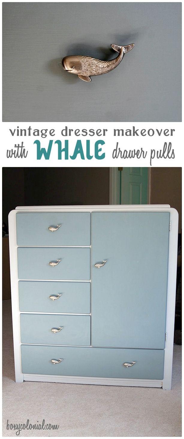 Vintage Dresser makeover for Nursery w/ Adorable Whale Drawer Pulls
