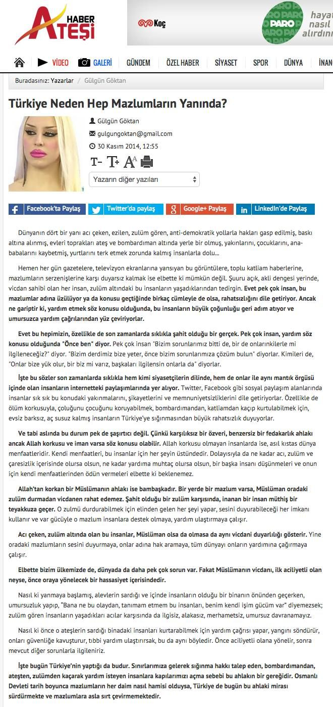 #HaberAteşi'nde yeni yazım - #Türkiye Neden Hep Mazlumların Yanında? http://www.haberatesi.com.tr/turkiye-neden-hep-mazlumlarin-yaninda-makale,93.html #GülgünGöktan #makale