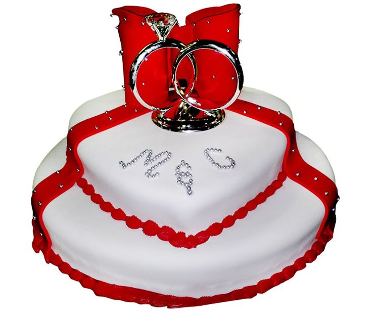 2 Tier Heart Shaped Wedding Cake Red And White Colors With Couple Rings Cake Toppers