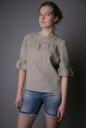 Pure Linen Natural Blouse for Woman. $39.00, via Etsy.