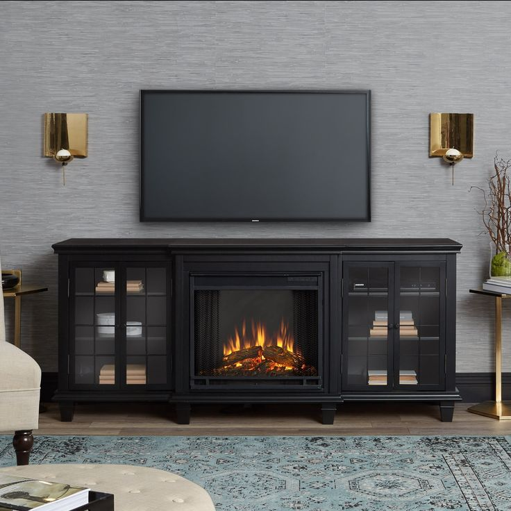 Real Flame Marlowe Black Electric Fireplace