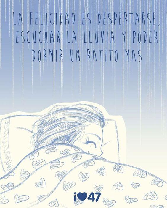 La felicidad es despertarse, escuchar la lluvia y poder dormir un ratito mas