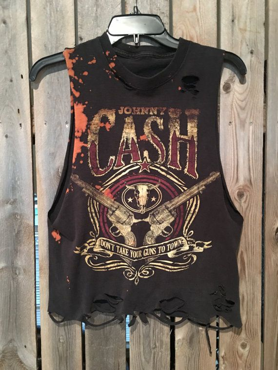 Johnny Cash t shirt has been awesomely distressed and cut into a tank top  Size Small