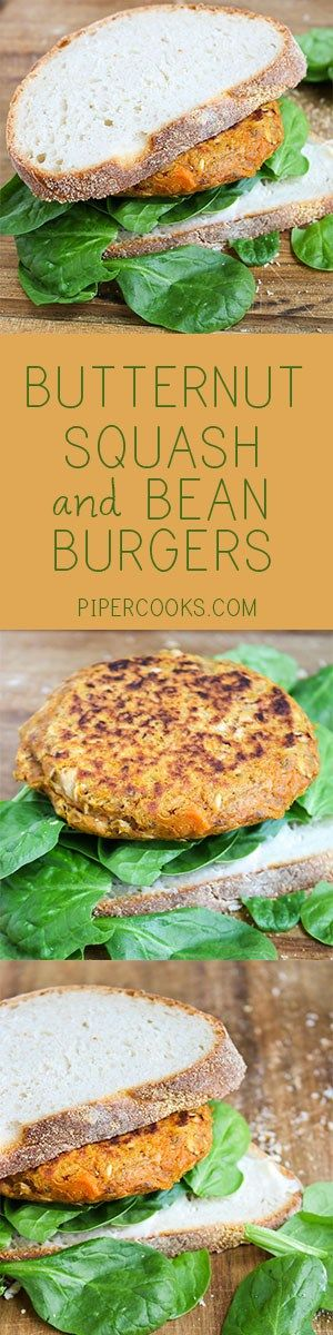 Butternut Squash & Bean Burgers. Make these vegetarian patties with roasted butternut squash for a healthy dinner.  Recipe @pipercooks   | PiperCooks.com