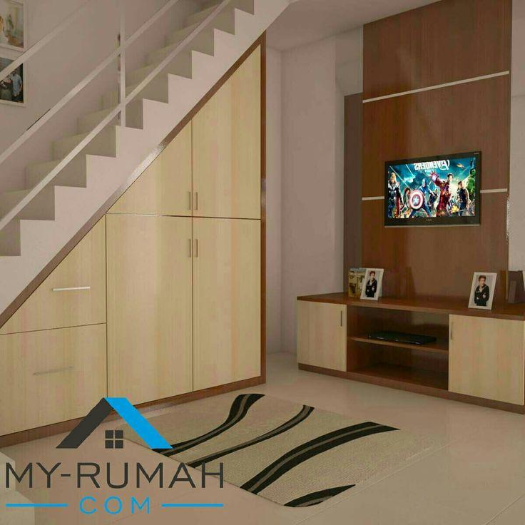 Lemari bawah tangga dan backdrop tv Www.my-rumah.com