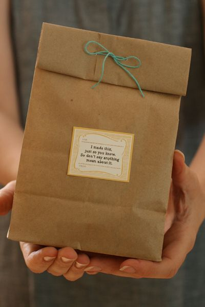 """These gift labels crack me up. I love this one: """"I  made this, just so you know. So, don't say anything mean about it."""" & """"I totally want to get one of these for myself, so let me know if you don't want it."""" From angrychicken.typepad.com"""