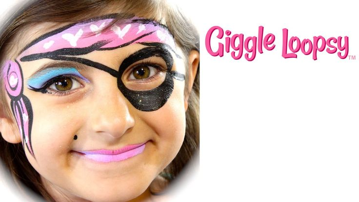 One Stroke Girl Pirate Face Paint Tutorial by Giggle Loopsy