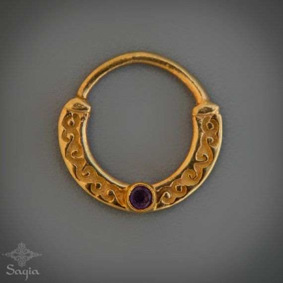 24 kt Gold Nose Ring Stone Septum Jewelry By Sagia Unique Gold Septum Ring For Pierced Nose With Peridot Stone