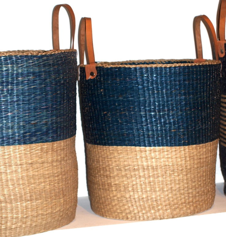 Seagrass Natural/navy Laundry Baskets