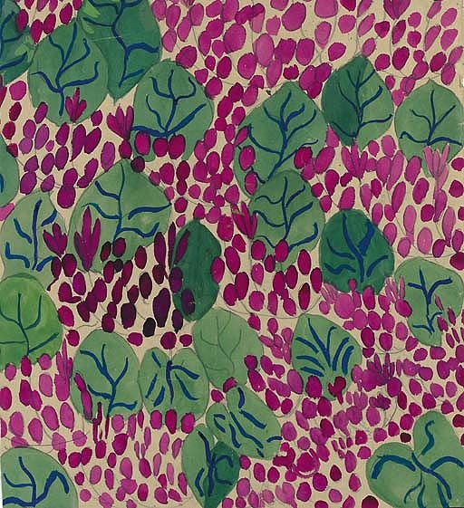 Leaves pattern - Raoul Dufy, no. 50686 - pencil and gouache on paper - Bianchini Textiles Collection