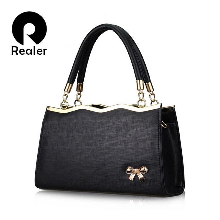 Бренд Realer сумка женская с короткими ручками, черная сумка с элегантным бантом, вечерние сумки через плечо дамская сумочкакупить в магазине RealerнаAliExpress