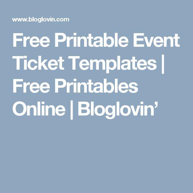 As 25 melhores ideias de Ticket template free no Pinterest - printable ticket template free
