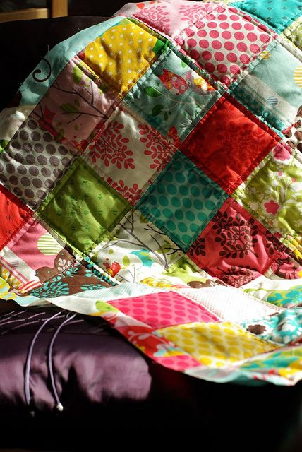 #Moda #quilt - It's a hoot baby quilt. ~I like the way it is quilted, makes it look so poufy and soft and snuggly.   ~m