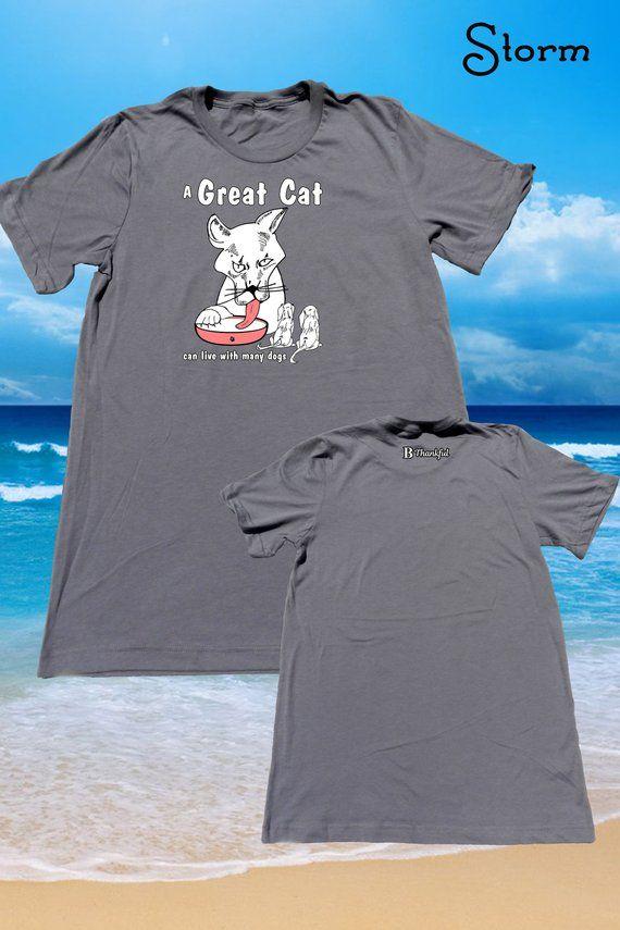 7fb602df85e01 Grey Great Cat - Unisex T-Shirt (Crew Neck) Beach Shirt - Summer Shirts -  Summer Clothes - Shirts for Men & Women