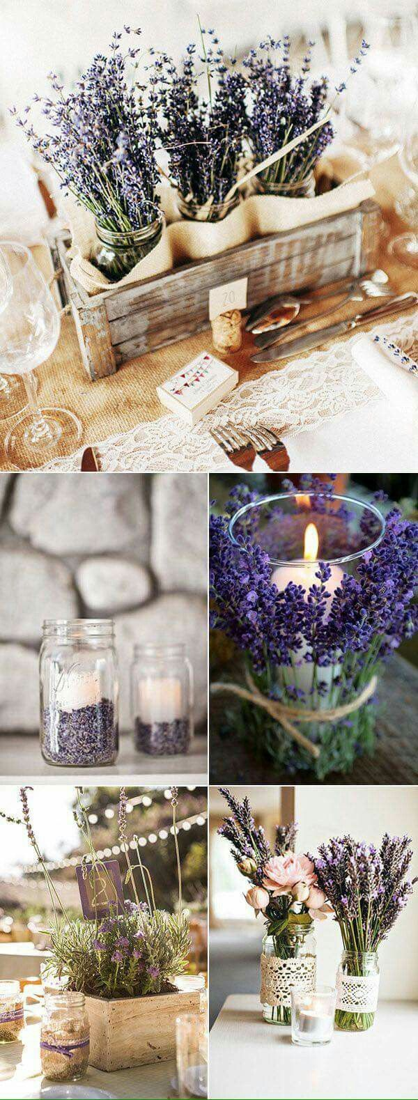 I love the jars filled with lavender to hold candles!!!
