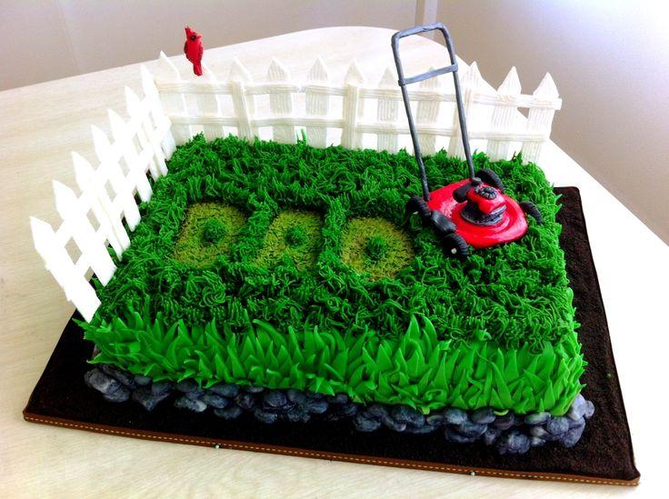 Father's Day lawn mower cake. - Fresh strawberry cake with fondant & buttercream grass, gumpaste lawn mower & fence, fondant cardinal & rocks, with Oreo crumb soil.