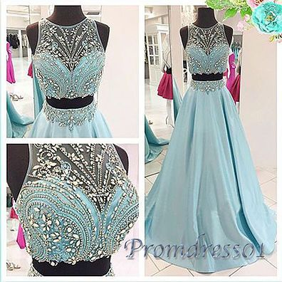 2016 cute sequins blue chiffon two pieces prom dress for teens, homecoming dress, prom dresses long